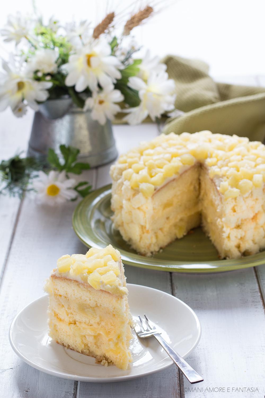 torta mimosa con ananas e crema pasticcera