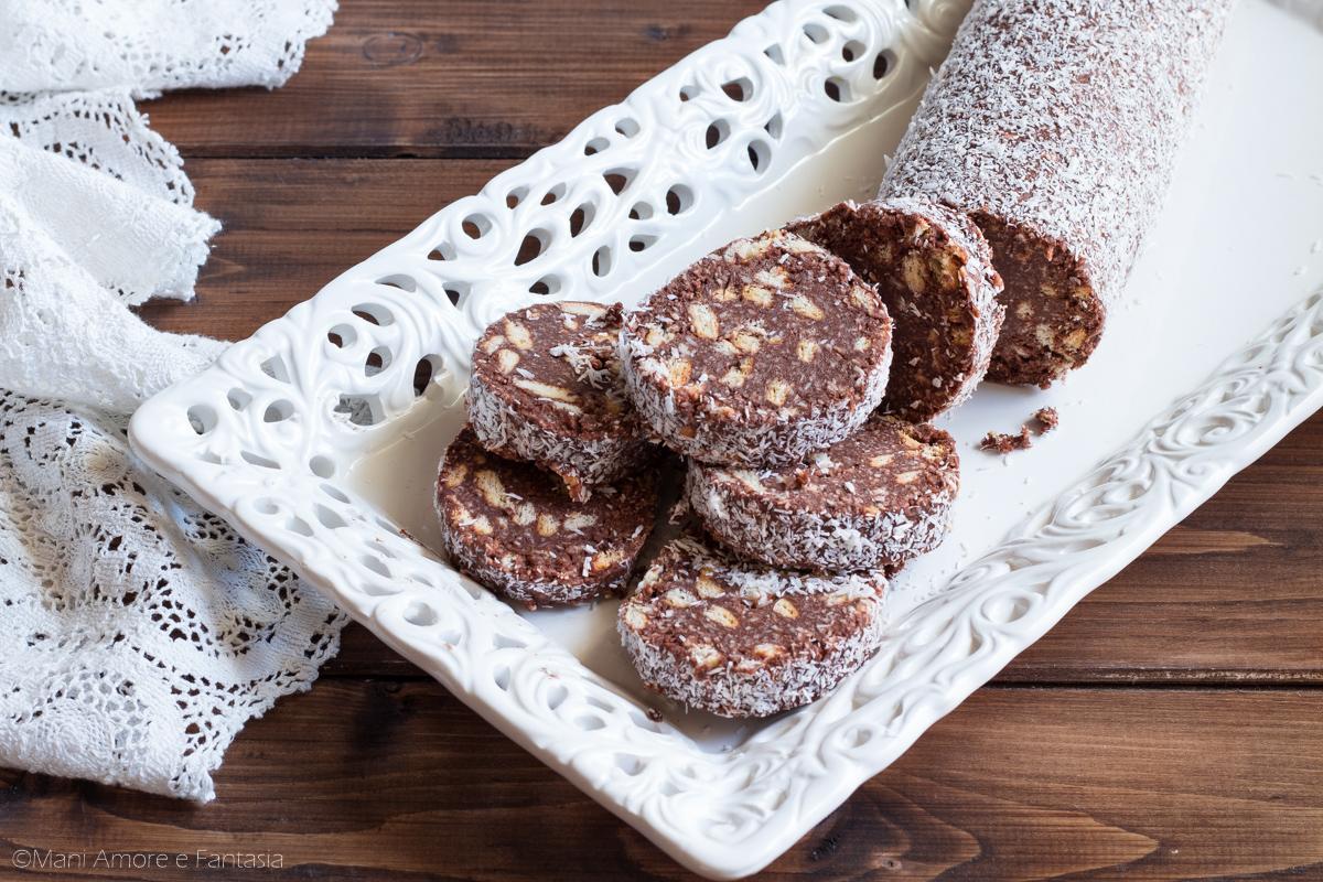 salame di cioccolato con ricotta e cocco