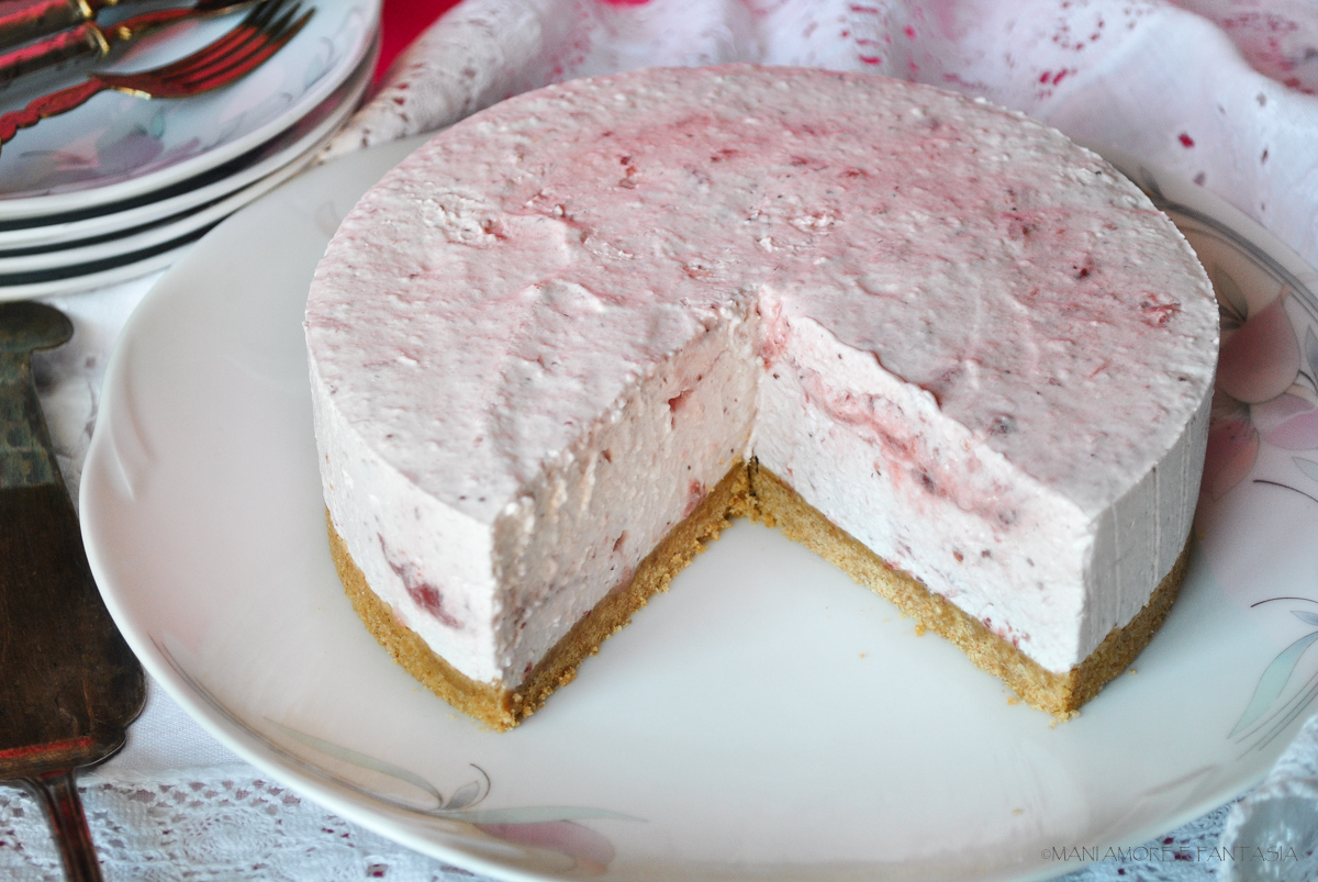 cheesecake con yogurt e marmellata
