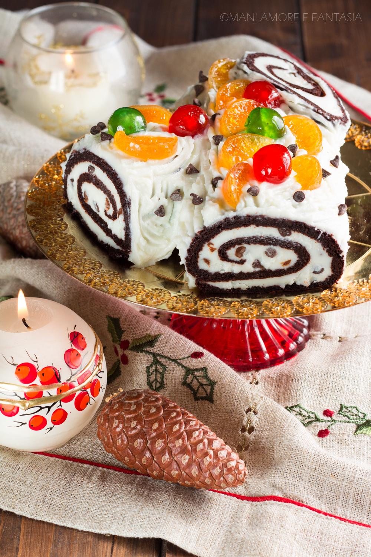 Tronchetto Di Natale Con Ricotta E Cioccolato.Tronchetto Di Natale Alla Ricotta Dolce In Versione Cassata Siciliana