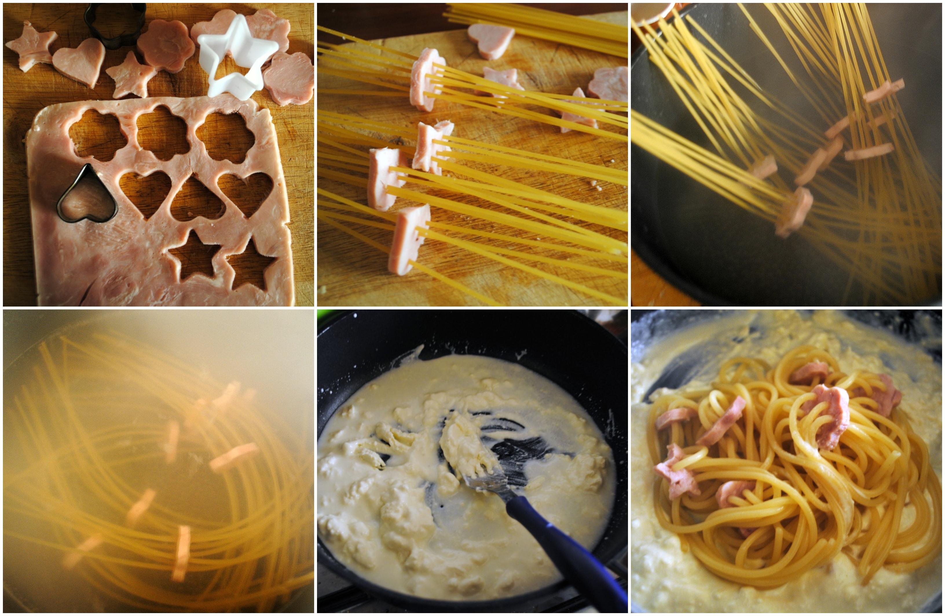 spaghetti ricotta e prosciutto