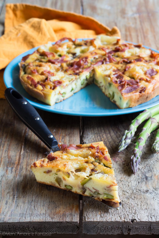 torta di asparagi al forno con prosciutto formaggio