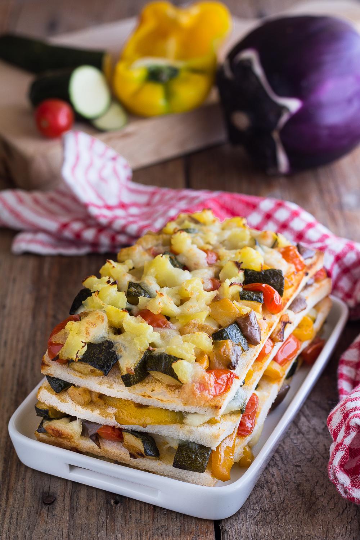 lasagne di pancarrè con melanzane zucchine e peperoni