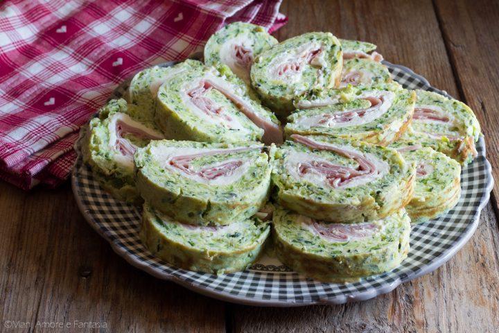 rotolo di zucchine farcito con prosciutto e zucchine