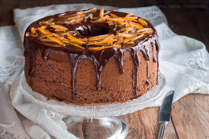 chiffon cake arancia e cioccolato