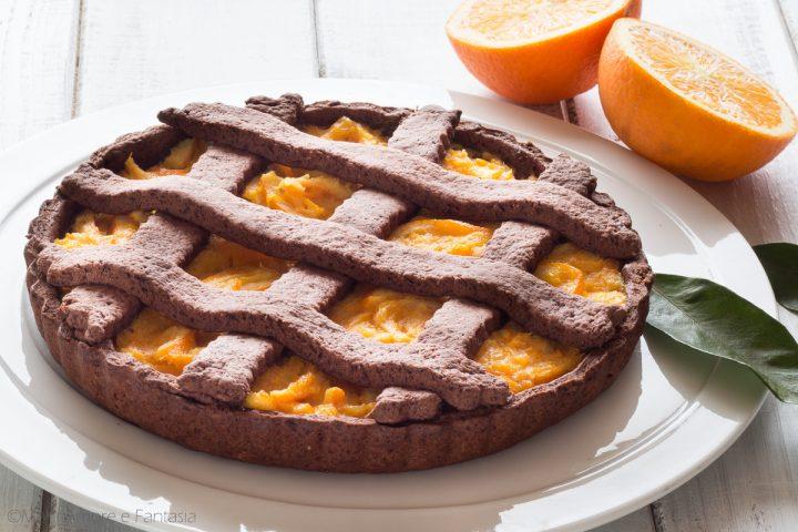 crostata senza zucchero con cacao e arance