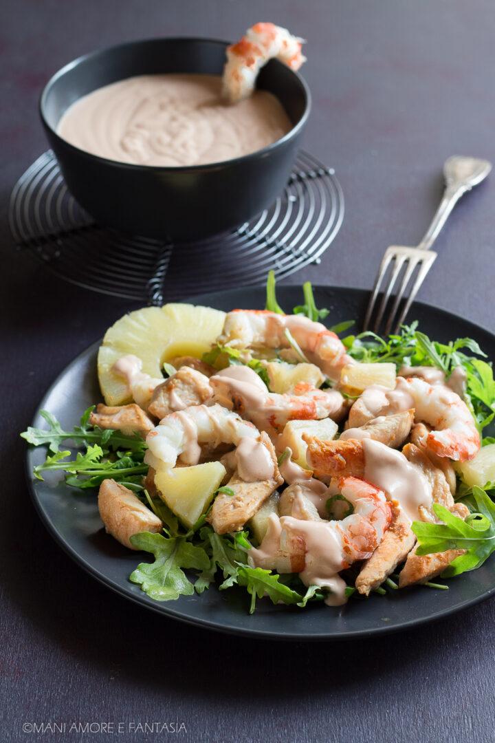 insalata esotica con gamberi pollo e ananas