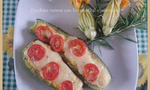 Zucchine ripiene con Emmenthal e pomodorini