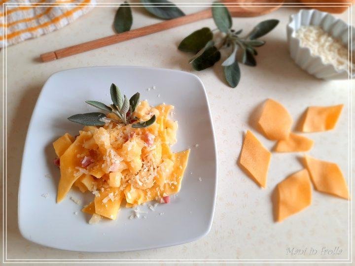 Maltagliati all'uovo con pancetta e patate