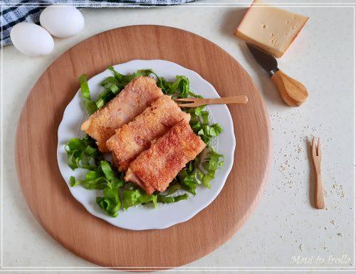 Involtini impanati di prosciutto ripieni di formaggio