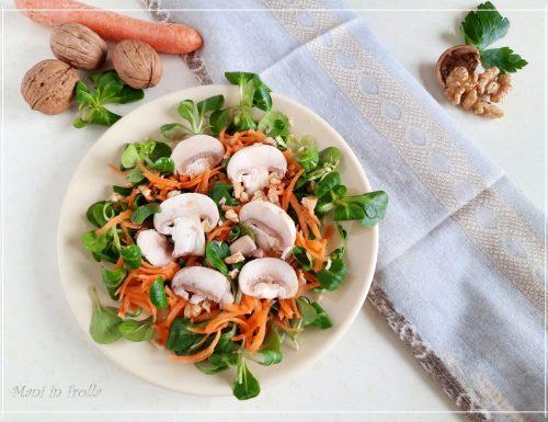 Insalata di funghi con carote valeriana e noci