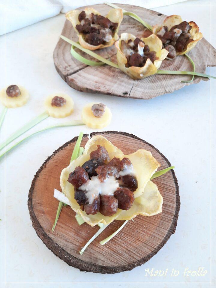 Tortini di patate con salsiccia e funghi
