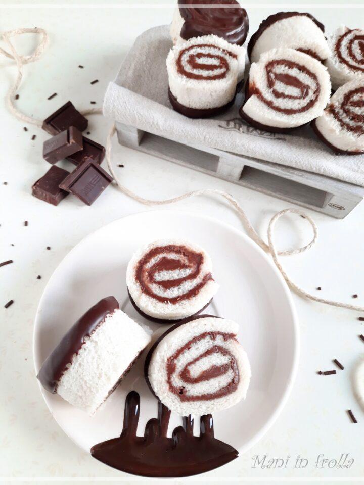 Girelline di pane con crema alla nocciola e cioccolato