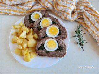 Polpettone farcito con uova sode e spinaci