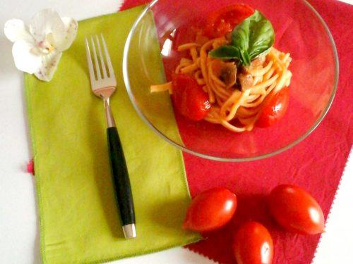 Scialatielli pancetta, melanzane e pomodori