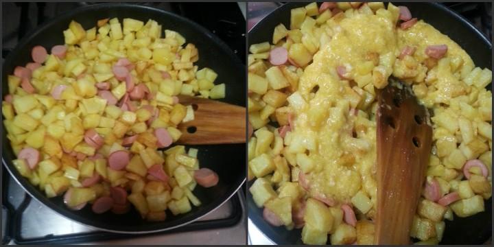 Patate fritte con uova e wurstel