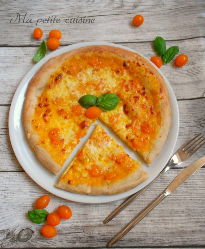Pizza margherita gialla con farina di tipo 2