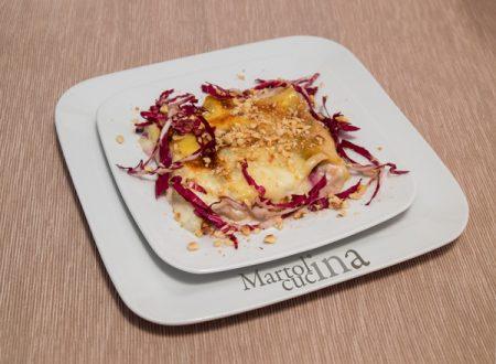 Lasagne con radicchio, gorgonzola e nocciole