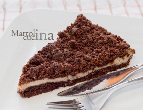 Fregolotta o sbrisolona al cacao con ricotta e cioccolato bianco