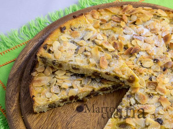 Pizza dolce di polenta con ricotta e mandorle_600x450
