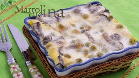 Lasagne bianche con funghi e piselli