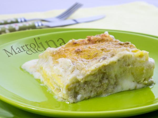 Lasagne con gorgonzola, stracchino e pesto di carciofi_600x450