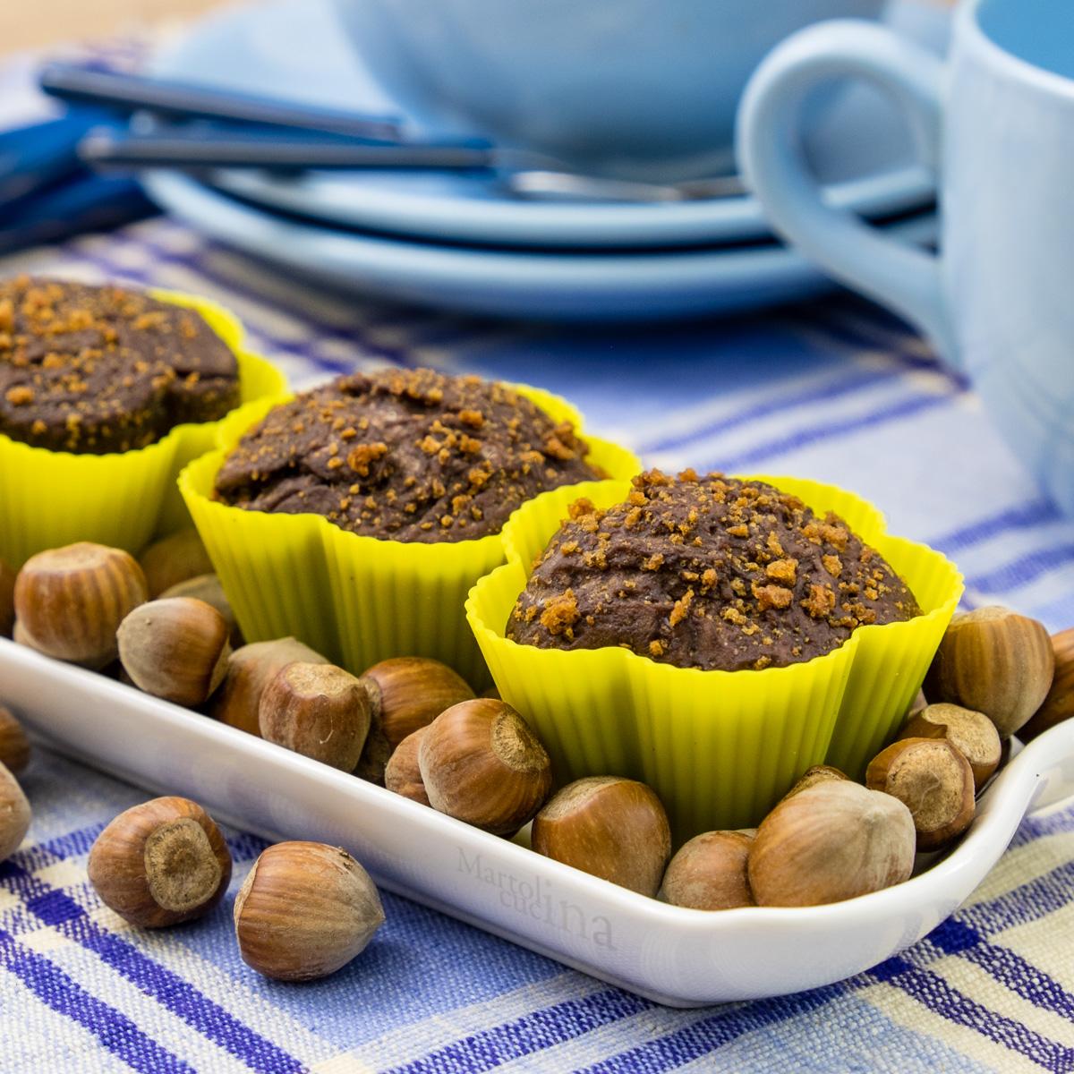 Muffin nocciole e cacao senza burro