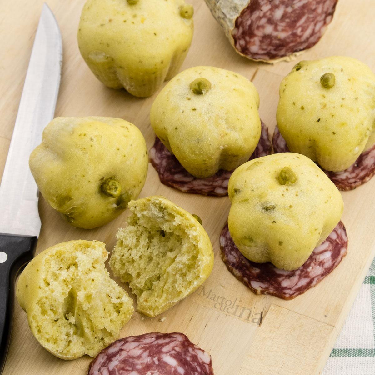 Muffin pesto e piselli senza burro