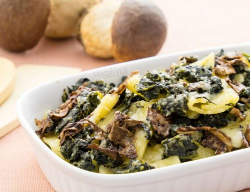 Pasta funghi e spinaci