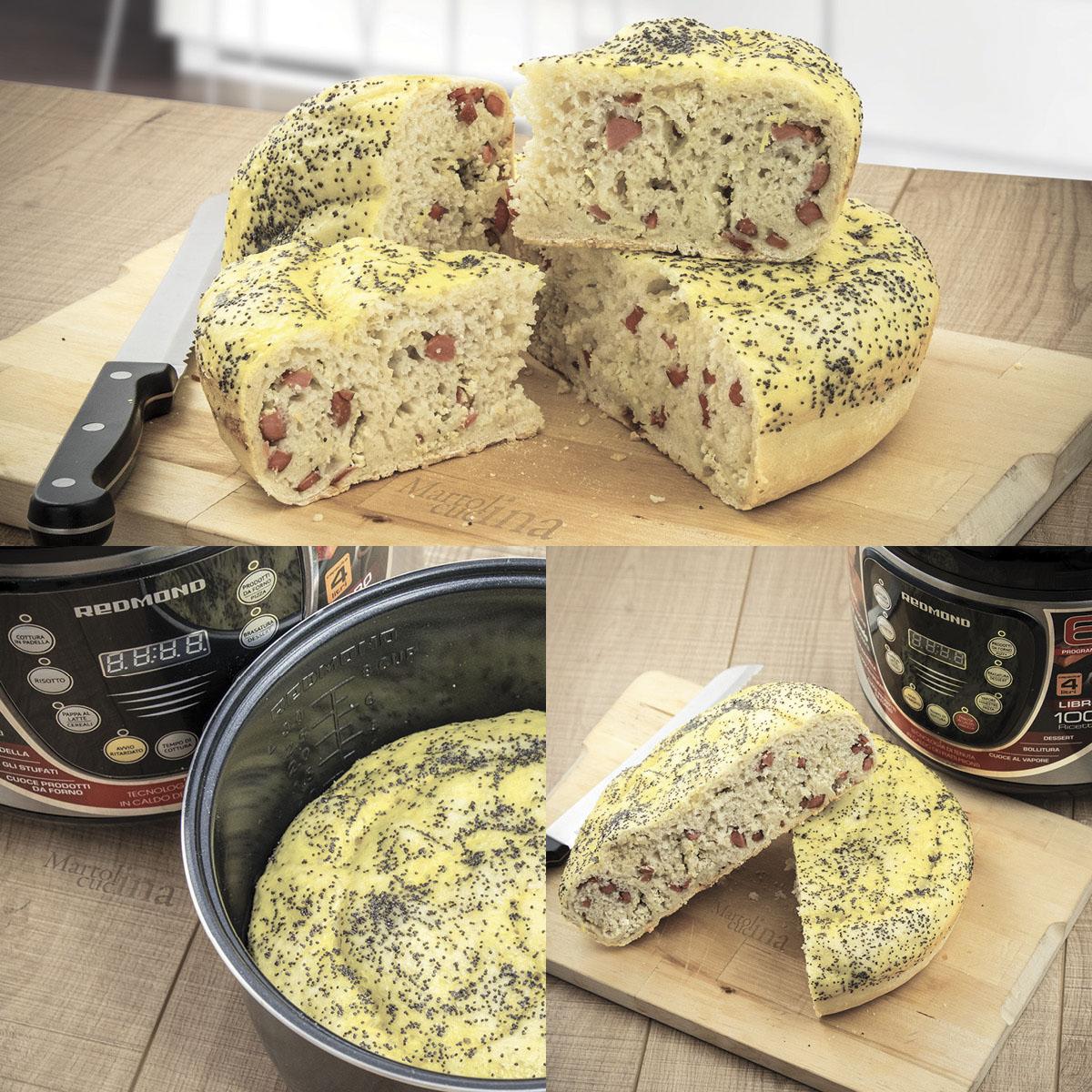 Focaccia wurstel e formaggio
