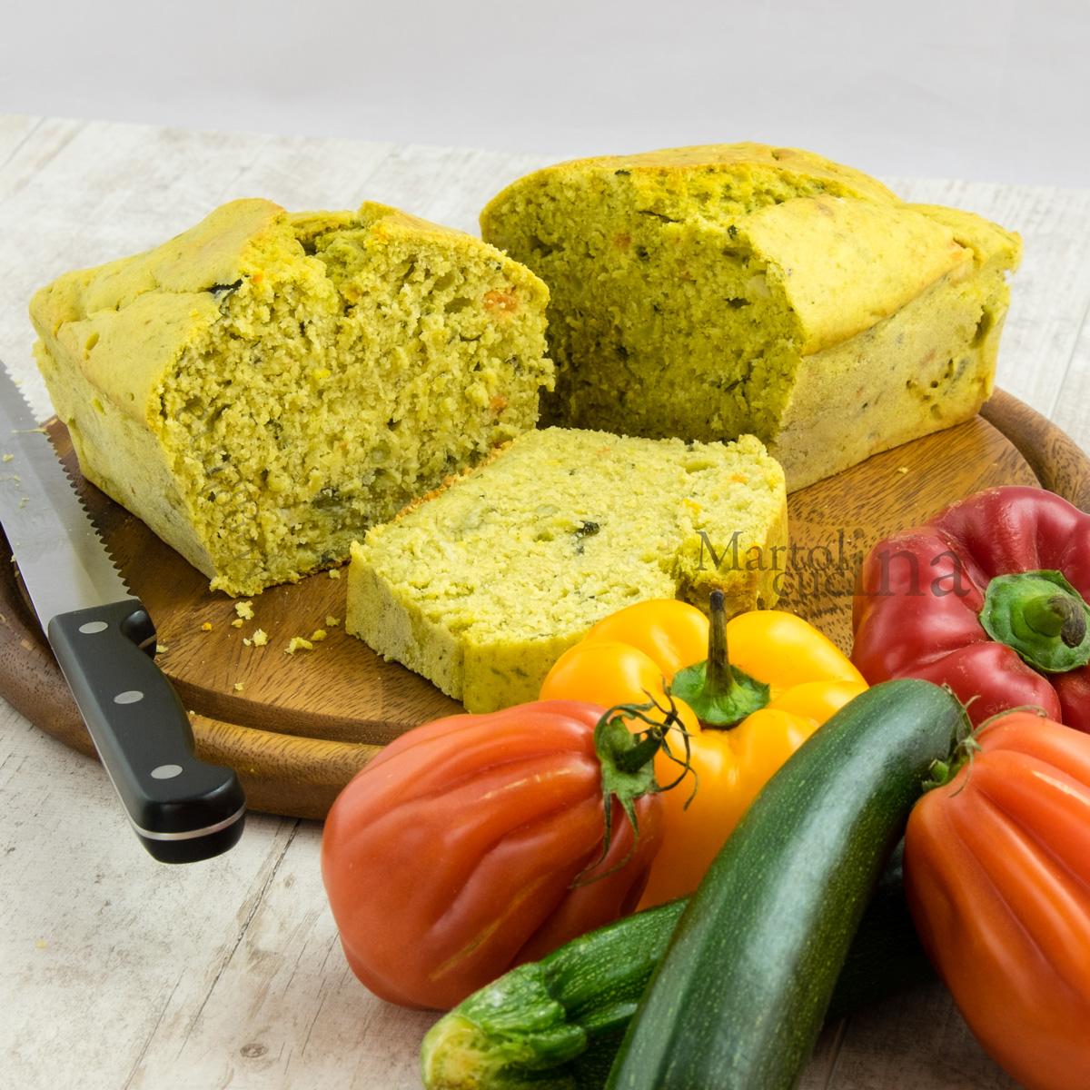 Plumcake con verdure e pesto