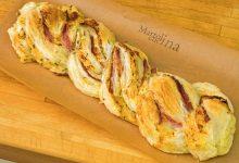 Treccia di sfoglia con prosciutto e formaggio, ricetta passo passo