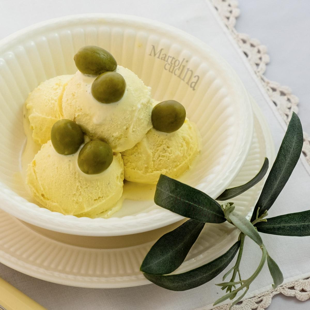 Gelato con olio di oliva