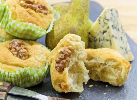 Muffin pere, formaggio e noci, senza burro