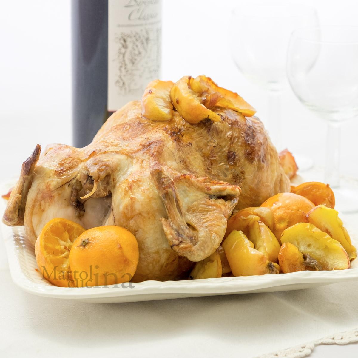 Pollo ripieno di mandarini e mele