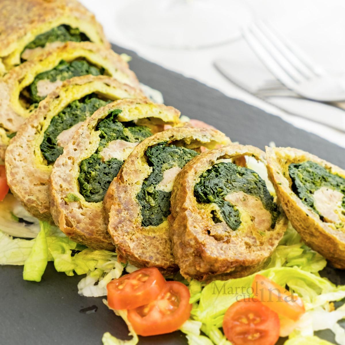 Polpettone con frittata e spinaci