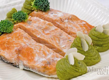 Salmone con crema di broccoli, ricetta secondo facile
