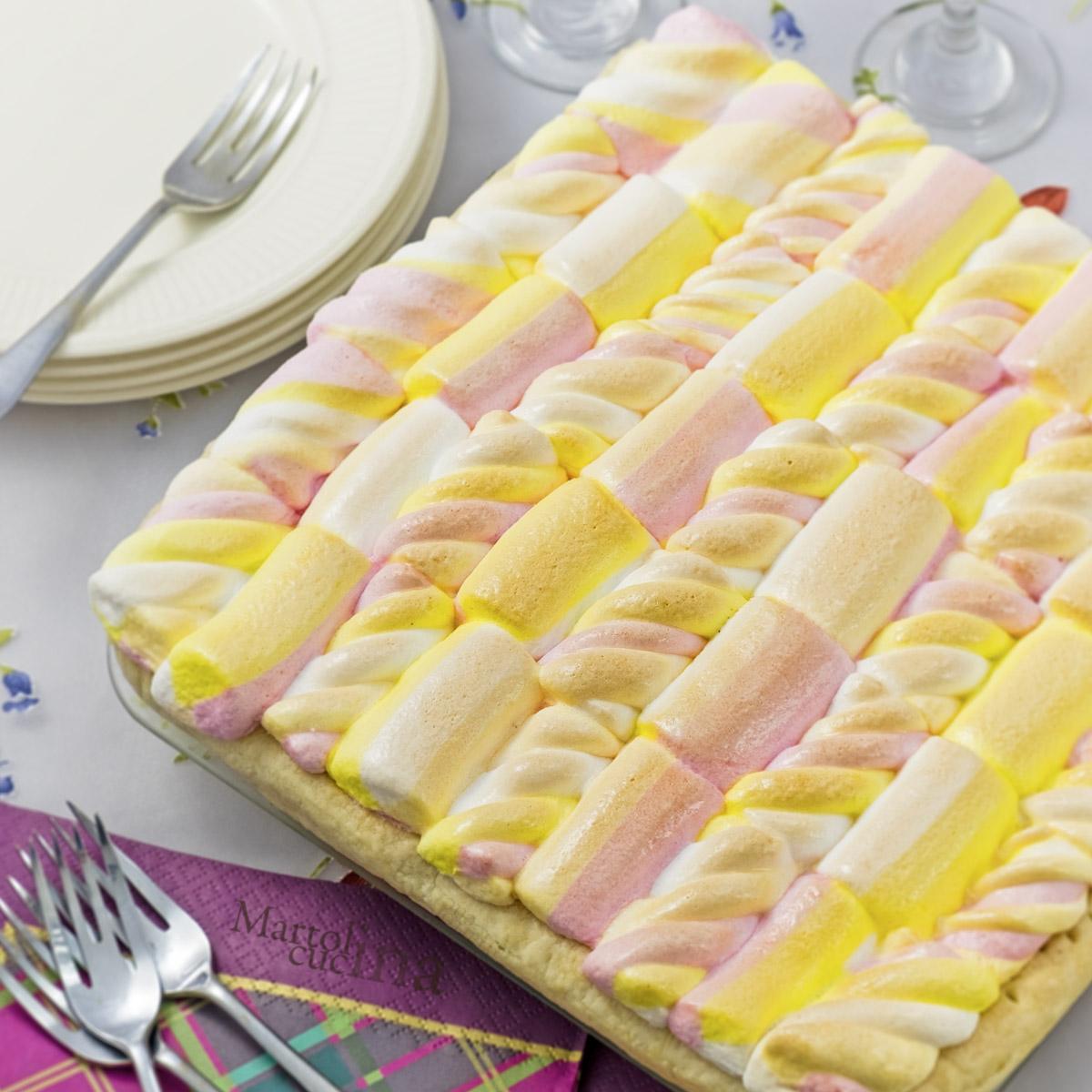 Crostata con cioccolato fondente e marshmallows