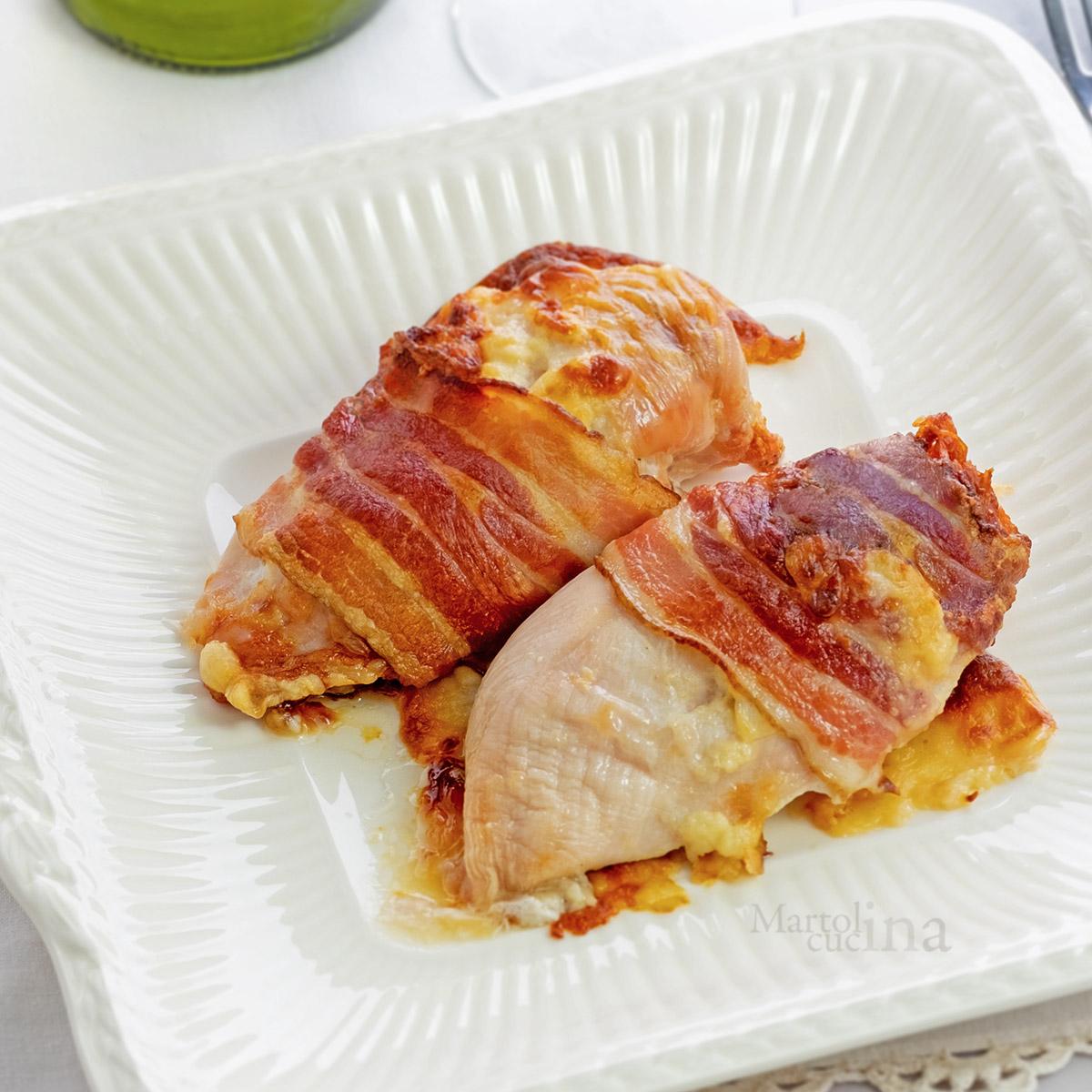 Pollo con formaggio e pancetta