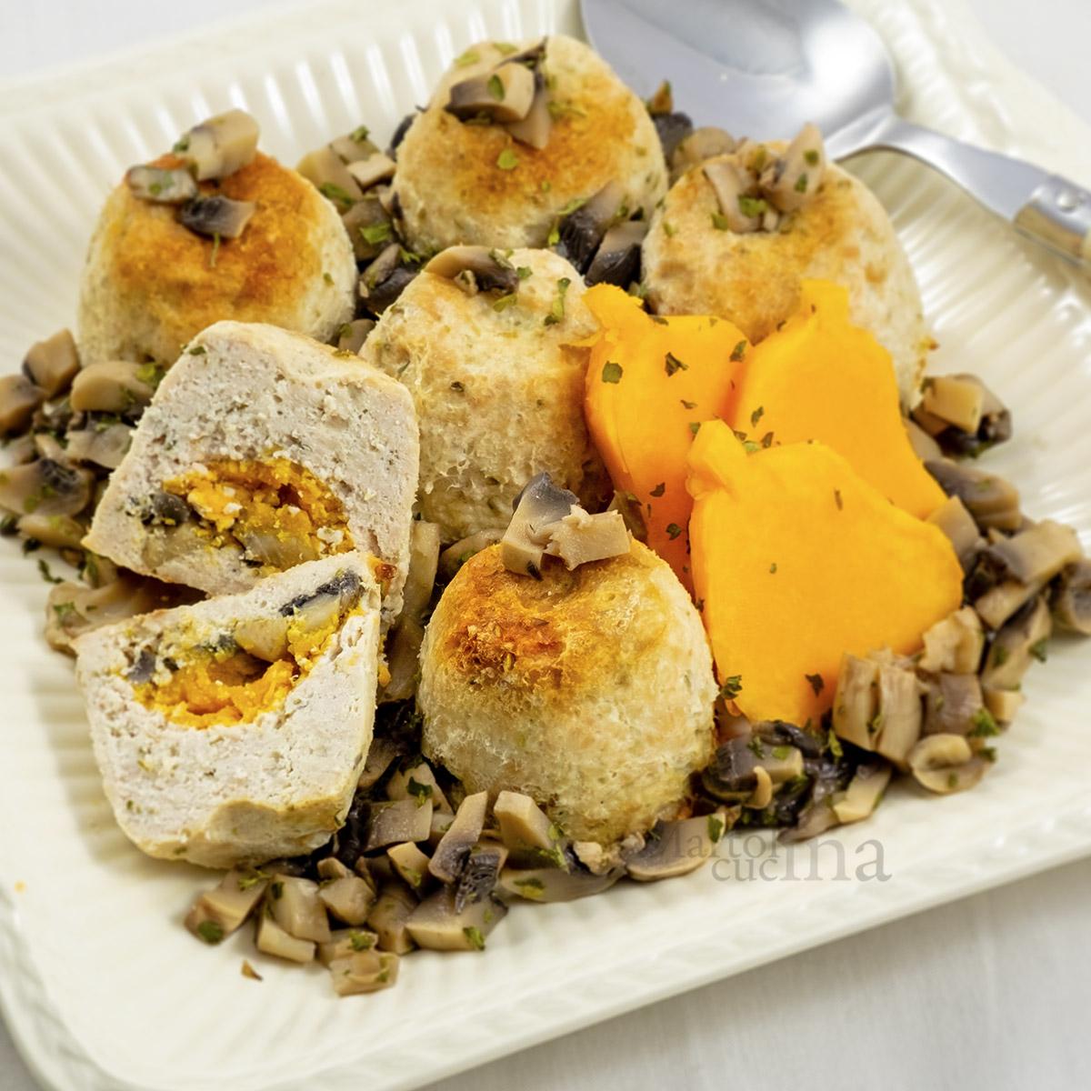 Muffin di carne ripieni di zucca e funghi