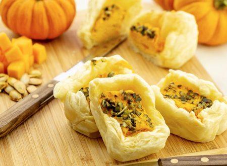 Torte salate mini con zucca e gorgonzola, ricetta facile