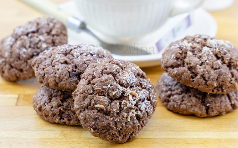 Biscotti cioccolato e cocco, senza burro e uova
