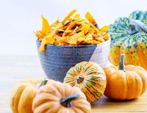 Chips di zucca al forno, ricetta facile, aperitivo, snack light