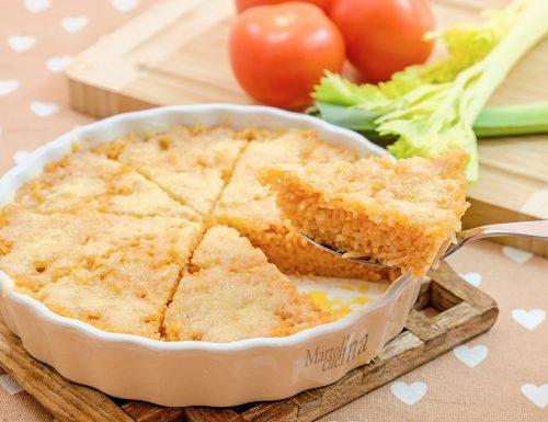 Crostata di riso pomodoro e formaggio, senza uova, velocissima