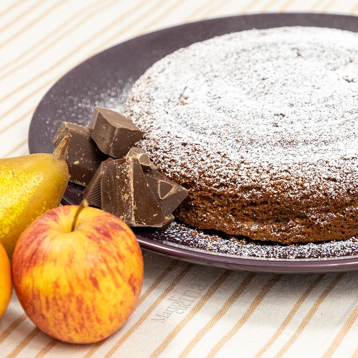Torta di mele pere cacao