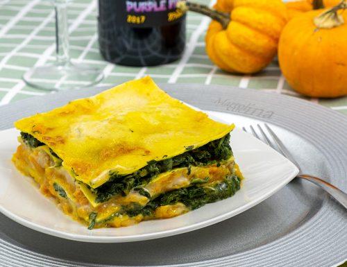 Lasagne con zucca e spinaci, primo vegetariano, facile
