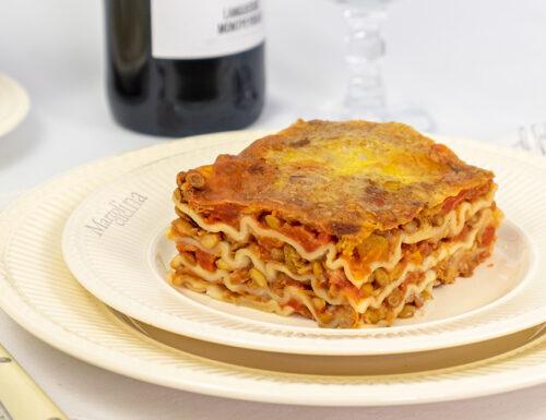 Lasagne con ragù di lenticchie, ricetta vegetariana, primo facile