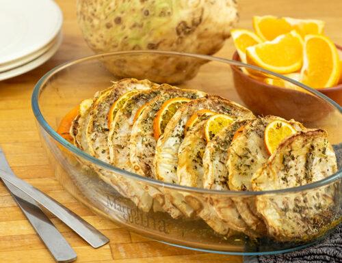 Arrosto di sedano rapa all'arancia, secondo vegetariano, ricetta facile