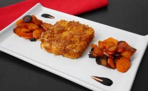Caciocavallo in crosta di corn flakes con carote caramellate