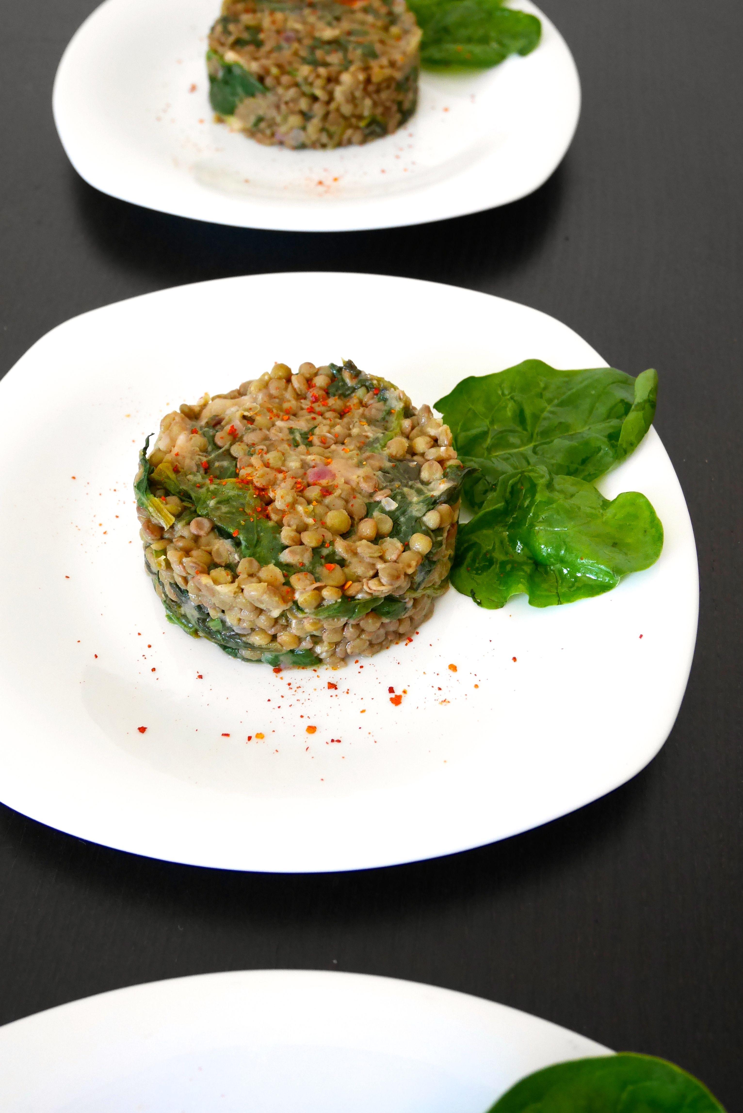 Insalatina di lenticchie e spinaci al limone
